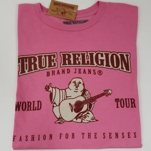 True Religion Mens T-Shirt Graphic Tee Pink NEW